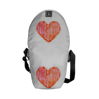 Pop Art Style Grunge Graphic Heart Courier Bag