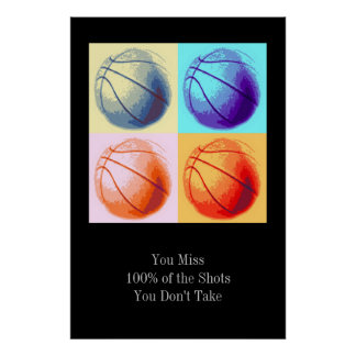 Pop Art Style Motivational Quote Basketball Poster