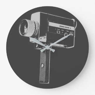 Pop Art Super 8 Movie Camera Large Clock
