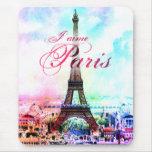Pop Art Vintage Eiffel Tower Mouse Pad