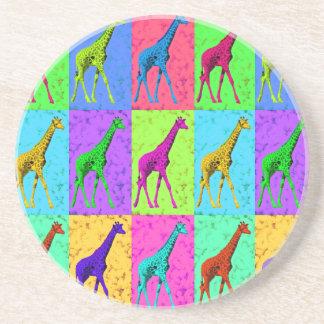 Pop Art Walking Giraffe Panels Coaster