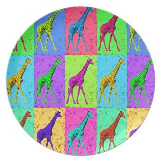 Pop Art Walking Giraffe Panels Plate