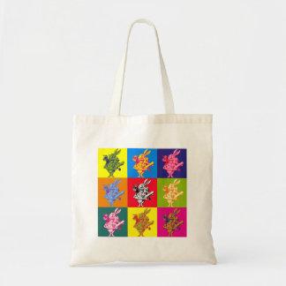 Pop Art White Rabbit Full Colour Budget Tote Bag