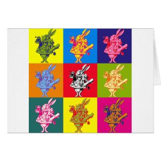 Pop Art White Rabbit Full Colour Greeting Card