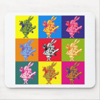 Pop Art White Rabbit Full Colour Mouse Pad