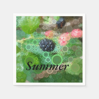 Pop Art Wild Blackberry Summer Party Supplies Paper Serviettes