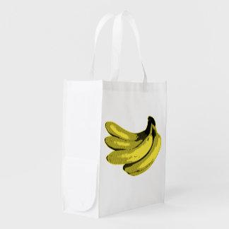 Pop Art Yellow Banana Graphic Reusable Grocery Bag