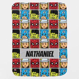 Pop Avengers Character Block Pattern Baby Blanket