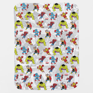 Pop Avengers Comic Book Pattern Baby Blanket