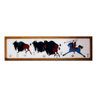 Pop Charlee Buffalo Hunting Mural Poster