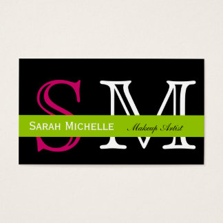 Pop Colors in Pink Green and Black Business Card