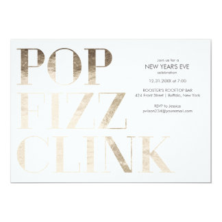 Pop Fizz Clink Faux Gold Foil New Year's 13 Cm X 18 Cm Invitation Card