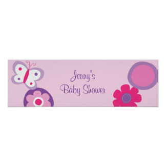 Pop Flower Butterfly Baby Shower Banner Sign Posters
