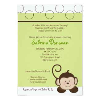 POP MONKEY 5x7 Green Neutral BABY SHOWER 13 Cm X 18 Cm Invitation Card