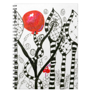 Pop of Color Red Balloon Zendoodle Fanciful Forest Notebook