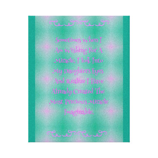 Pop Pink Baby Girl Miracle Quote Canvas Print