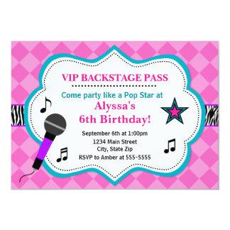 Pop Star Birthday Invitation Rock Star Girl