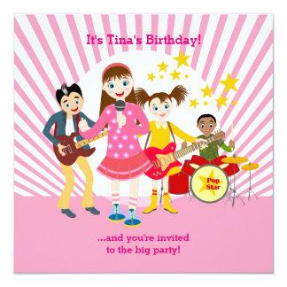Pop star girl birthday party 13 cm x 13 cm square invitation card