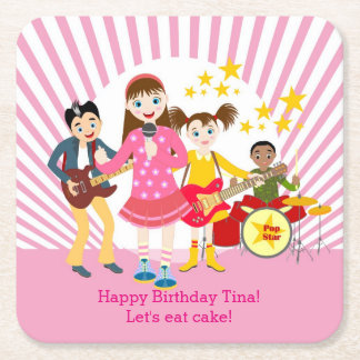 Pop star girl birthday party square paper coaster