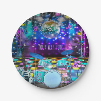 POP STAR PARTY Birthday Musical Dance 7 Inch Paper Plate