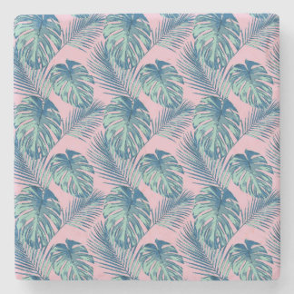 Pop Tropical Leaves Seamless Pattern Series 1 Stone Coaster