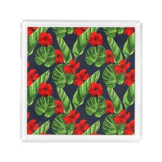 Pop Tropical Leaves Seamless Pattern Series 3 Acrylic Tray