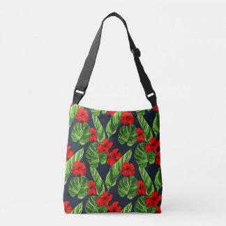 Pop Tropical Leaves Seamless Pattern Series 3 Crossbody Bag