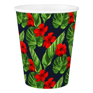 Pop Tropical Leaves Seamless Pattern Series 3 Paper Cup