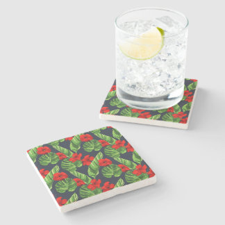 Pop Tropical Leaves Seamless Pattern Series 3 Stone Coaster