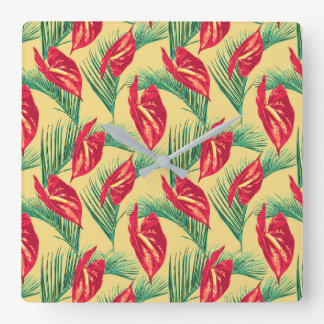 Pop Tropical Leaves Seamless Pattern Series 4 Square Wall Clock