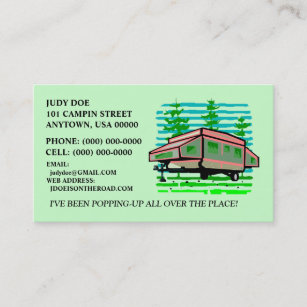 Pop up business cards business card printing zazzle pop up camper trailer contact or business cards calling card reheart Choice Image