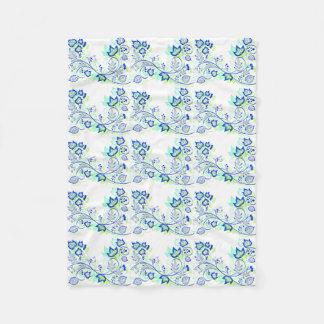 PopArt Blue Leaves Fleece Blanket