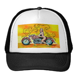 Popart Girl on a Motorcycle Mesh Hat