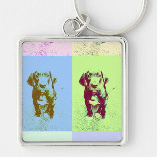PopArt great dane Puppy Silver-Colored Square Key Ring
