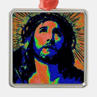 PopArt Jesus 2 Silver-Colored Square Decoration