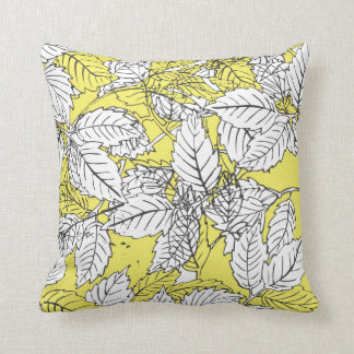 Popart leaves Yellow Cushion
