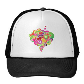 PopArt Pink and Green Hearts Mesh Hats
