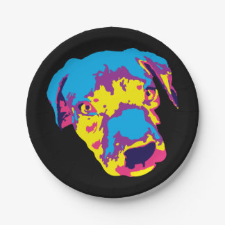 Popart Pitbull Puppy Paper Plates