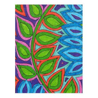 popart plant, multicolored postcard