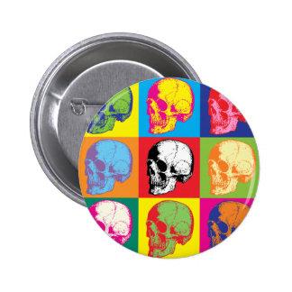 Popart skulls 6 cm round badge