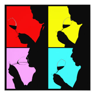 "PopArt Wine Tasting Silhouette 4 Steps Invitation 5.25"" Square Invitation Card"