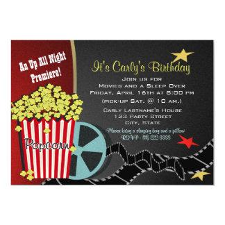 Popcorn and a Movie Sleep over 13 Cm X 18 Cm Invitation Card