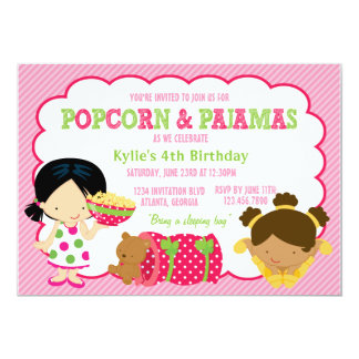 Popcorn and Pajamas Sleepover Party 13 Cm X 18 Cm Invitation Card