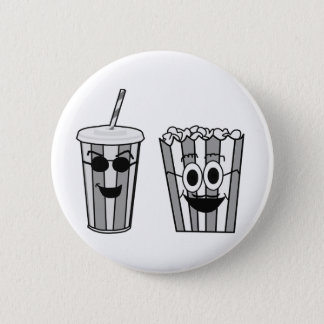 popcorn and soda 6 cm round badge