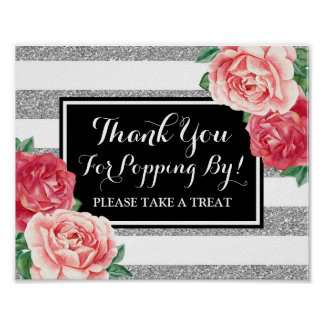 Popcorn Bar Sign Black Silver Pink Flowers