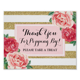 Popcorn Bar Sign Blush Gold Pink Flowers