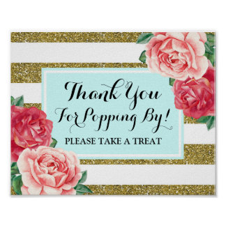 Popcorn Bar Sign Light Blue Gold Pink Flowers