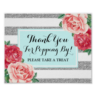 Popcorn Bar Sign Light Blue Silver Pink Flowers