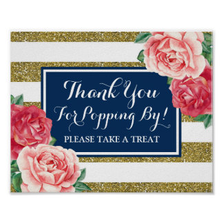 Popcorn Bar Sign Navy Blue Gold Pink Flowers