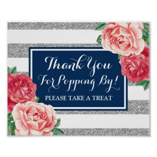 Popcorn Bar Sign Navy Blue Silver Pink Flowers